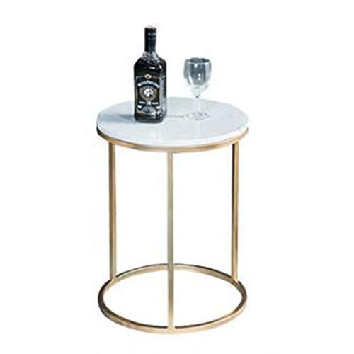 Salontafel met ronde hoeken, eenvoudige salontafel van marmer, rond, kantoor, werkkamer, hotel, slaapkamer, woonkamer, balkon, kleine salontafel, afmetingen: 40 x 50 cm