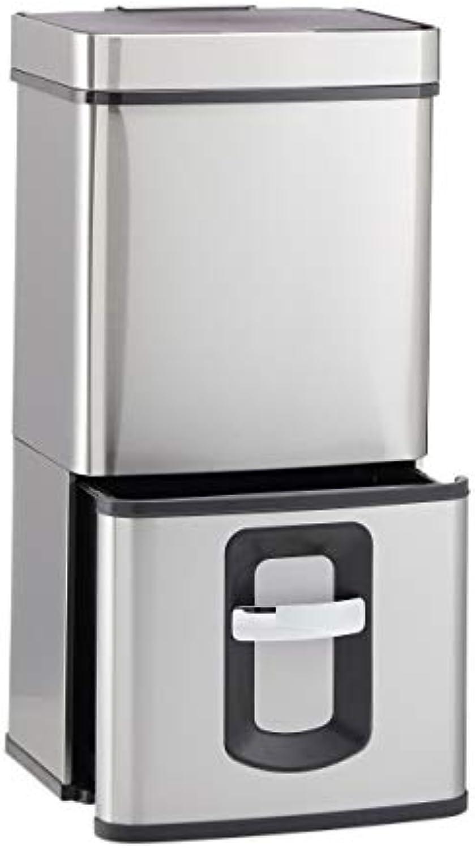 Relaxdays 10022949 Mülltrennsystem 4-Fach, mit Bewegungssensor, 72 Liter, ausziehbar, Edelstahl, HBT  82 x 42 x 32 cm, Silber