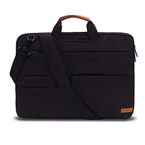 KINGSLONG Laptoptasche mit Schultergurt, schmal, leicht, für Asus, Dell, Lenovo, Toshiba, Schwarz