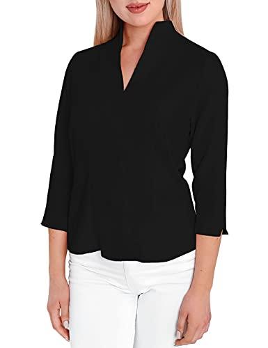 HEVENTON Damen-Bluse mit Kelchkragen Hemd-Bluse Stehkragen bgelleicht Business 3/4 rmel 1205 Color Schwarz, Size 44