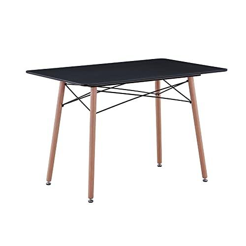 Uderkiny A Mesa de Comedor Redonda con Tapa de MDF, Adecuada para Cocina de Restaurante balcón Escritorio, etc (Negro 02)