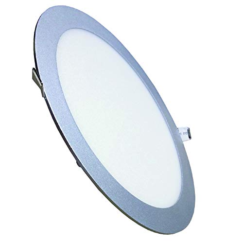 Pack 2x Panel LED Redondo, Marco Plata, 20w. Color Blanco Neutro (4500K). 1800 Lumenes reales. Driver Incluido. A++