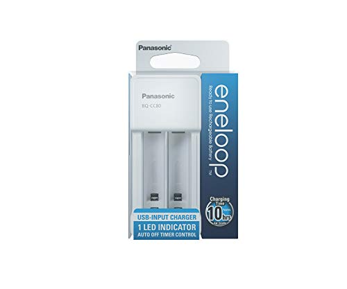 Panasonic eneloop - Cargador Micro USB para 2 Pilas Ni-MH AA/AAA (Incluye Cable USB)