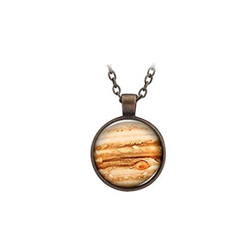 Júpiter - Collar con colgante de cristal y planeta naranja