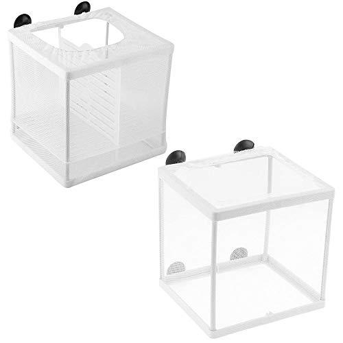 2 Stück Aquarium Isolation Netz, Ablaichstation Zucht Box, Ablaichkasten, Aquarium Fische Brutkasten, mit Saugnapf, für Alle Arten von Aquarien, Kaltem Wasser, Tropischen und Meeresfischen
