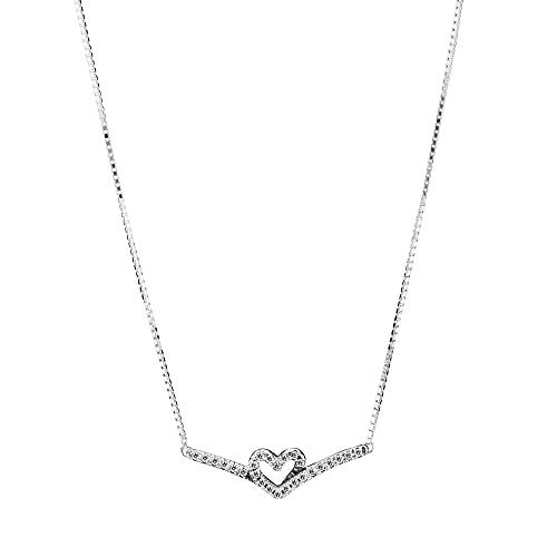 Pandora Wish Sparkling Wishbone Heart Necklace Sterling Silver Length: 45 cm