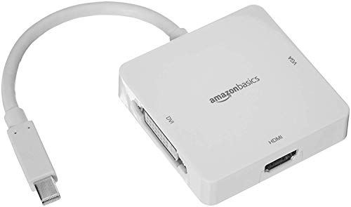 Amazon Basics - Adaptador de Mini DisplayPort a HDMI/DVI/VGA - Blanco