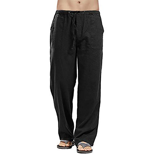 Vanvene - Pantaloni da uomo in lino, stile casual, vestibilità larga, elastico in vita con coulisse, pantaloni a gamba dritta per yoga, spiaggia Nero XL
