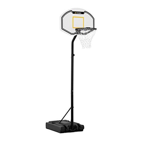 Gymrex Canestro Basket Regolabile con Base Cesto Pallacanestro GR-BS12 (190-260 cm, 90 x 60 cm, Nylon, Acciaio, Plastica)