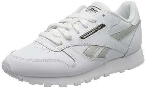 Reebok Womens CL LTHR Gymnastics Shoe, White/Silver Met./White, 37.5 EU