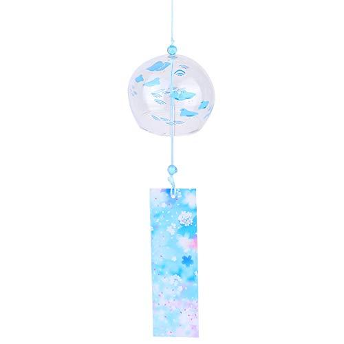 VOSAREA Campanas de viento japonesas de cristal hechas a mano para decoración del hogar con flores de cerezo japonesas, carillones de viento para colgar decoraciones