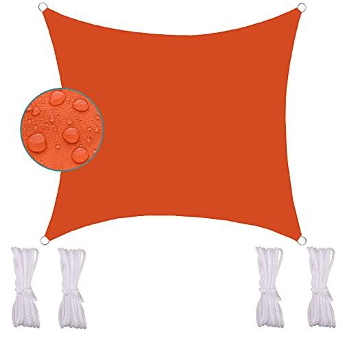 FFDL Sonnensegel 3.6X3.6M, Windschutz Sonnenschutz Segeltuch Wetterschutz Wasserabweisend Inkl Befestigungsseile Oxford Stoff für Garten Orange