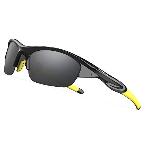 TOREGE Tr90 Flexible Kids Sports Sunglasses Polarized Glasses for Junior Boys Girls Age 3-6 TR041 (Black&Yellow with Grey Lens)
