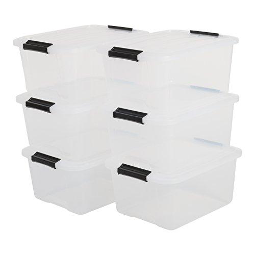 Iris Ohyama, Boîtes de Rangement Empilables avec Fermeture Clic - Top Box, Set de 6, 15 L, Transparent
