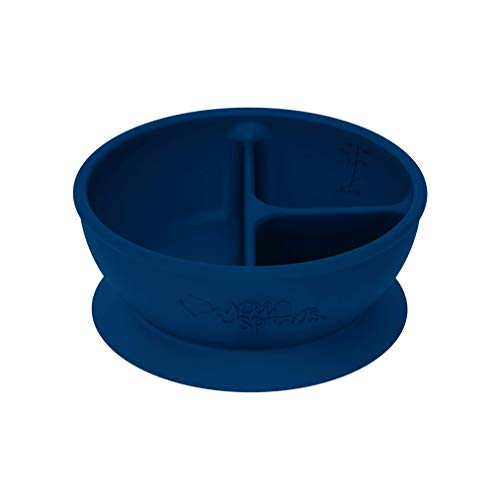 green sprouts - silicone divided suction Learning Bowl - Navy
