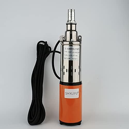 SHYLIYU Bomba Sumergible para Pozo Profundo 24V 260W Bomba de Agua Sumergible Solar 2300L/H Bomba de Pozo para doméstico industrial y La agricultura
