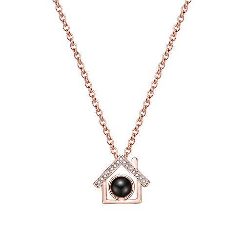 Nikgic - Collana con Ciondolo a Forma di casetta di Diamanti, Lega, D''or, 1.2cm*1.3cm