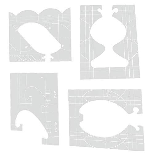Remiendo De Costura Regla-Acolchado Plantillas De Acrílico De Tela Gobernantes Conjunto De Herramientas para El Bricolaje Accesorios De Coser Máquinas De 4pcs Transparentes