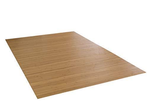 DE-COmmerce Bambusteppich Massive Gold, 100x160 cm, 17mm gehärtete Stege | die Neue Generation Bambusteppich | kein Bordürenteppich | Teppich | Wohnzimmer | Küche