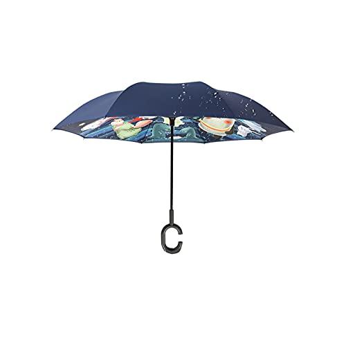 24580. Ombrello inverso dei bambini, ombrelloni per ragazzi e ragazze, ombrelloni leggeri del fumetto maneggiati a mano, principesse carine,doppio strato