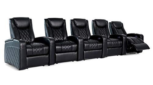 Zinea Kinosessel Emperor - 5 Sitzer - Premiumleder, elektrisch verstellbar, LED Becherhalter, Ambientebeleuchtung, Kinosofa, Kinositz - sofort lieferbar