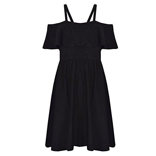 A2Z 4 Kids® Mädchen Skater Kleid Kinder Deigner's Einfach Farbe - Plain Off Shoulder Dress Black 11-12