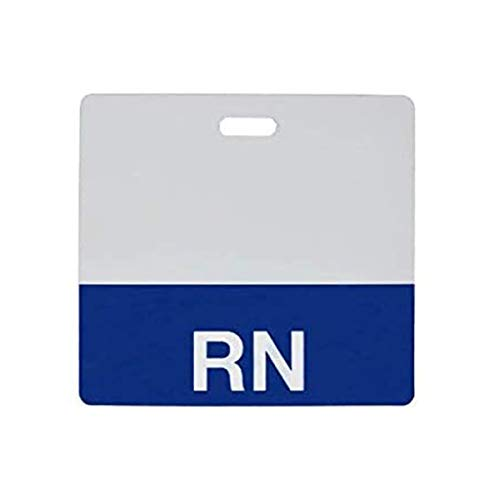 """Clear""""RN"""" Registered Nurse Horizontal Badge Buddy with Blue Border by Specialist ID, Sold Individually"""