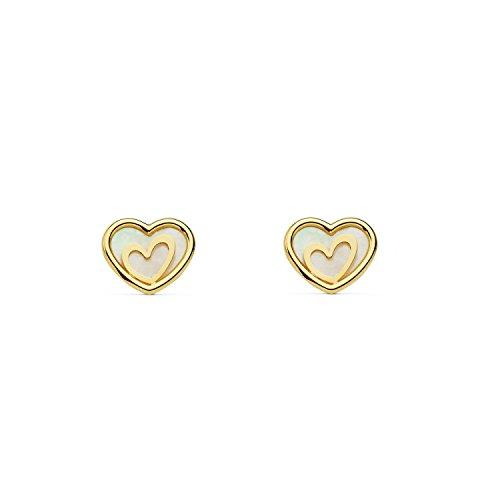 Pendientes Oro Niña corazón con fondo nacar (9kts)