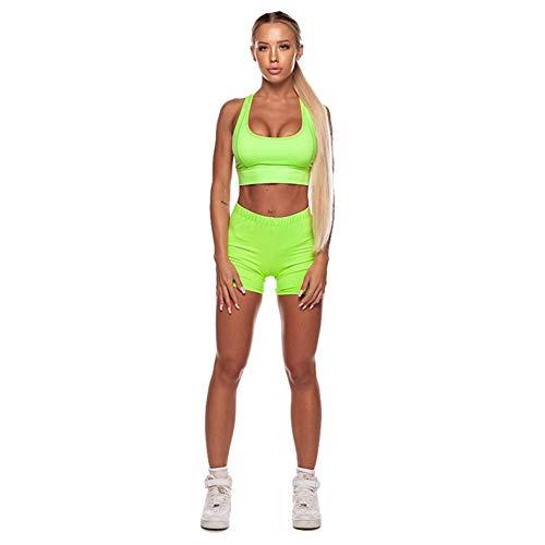 iBàste Ensemble de Yoga pour Femmes Sportswear Wear Fluorescent pour Exercices de Fitness Jogging Escalade Randonnée Gym Wear Set