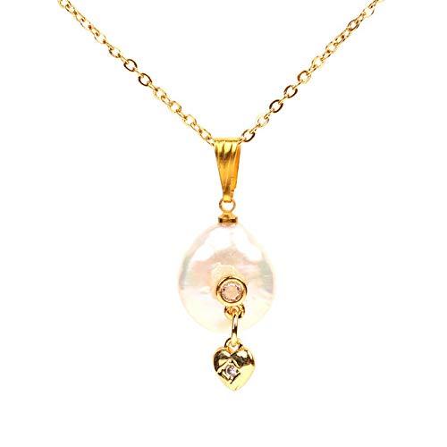 WYFLL Accesorios europeos y americanos creativos micro diamante estrella luna colgante barroco en forma de perla collar de cadena de clavícula