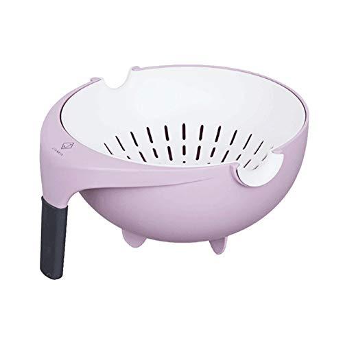 Salatschleuder Double Drain-Nudeln Kleder für Pasta Spaghetti Küchenfrucht Gemüsewäsche Korb mit Griffsalat-Trockner Cleander-Abläufer (Color : Purple)