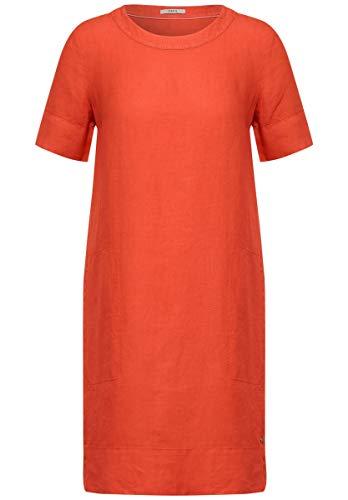 Cecil - Leinen Kleid in Unifarbe in Gerbera Orange Größe XL