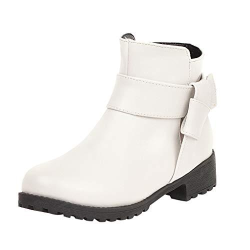 Yowablo Stiefel Frauen Mode Reine Farbe Runde Zehen Reißverschluss Stiefel Square Heels Vintage (38,Weiß)