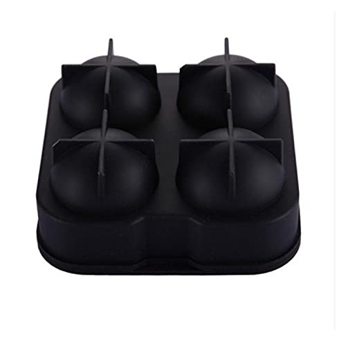 JSJJRFV Molde de Cubitos de Hielo Bolas de Hielo Redondo 1pc Hot Hot Cube Cube Pudín Forma 4 Agujeros Redondos Silicona 4-Cavidad DIY Máquina de Hielo Uso del hogar (Farbe : Black)