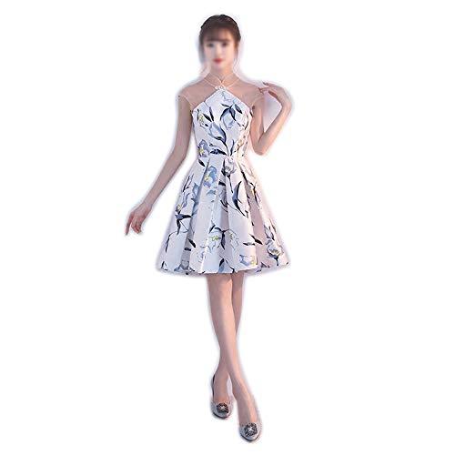 HLL-Dress Vestidos Dirndl Stand Collar Perspectiva Una línea de Flores Vestido de Noche de Las Mujeres (Color : Flowers, Size : L)