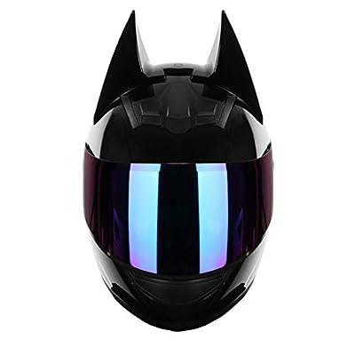 DCLINA Full Face Women Cat Ears Motorcycle Street Helmets with Bluetooth Headset Men Moto Knight Helmet ATV Crash Scooter Flip Up Visors Modular Helmets DOT Certified (54-62cm) by DCLINA