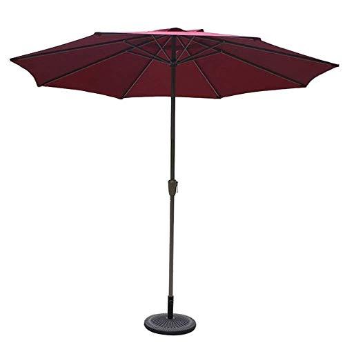 GBTB Sombrillas de 9 ', Redondas, sombrilla de Mercado/jardín/Patio, UV70 +, sombrilla de Exterior para balcón, terraza, terraza o Patio (Color: Rojo Vino)