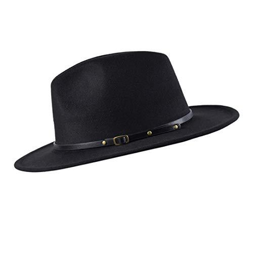 besbomig Sombreros de Sombrerera de Jazz para Hombres Mujer - Sombrero de ala Ancha Fieltro de Lana