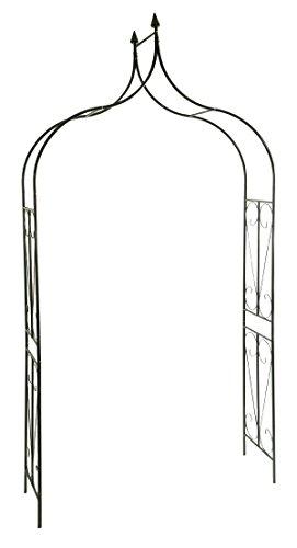 CLP Geschwungener spitz zulaufender Eisen-Rosenbogen I Torbogen aus Metall mit stilvollen Verzierungen I Rankhilfe im Landhausstil I In Zwei Größen erhältlich, Farbe:grün