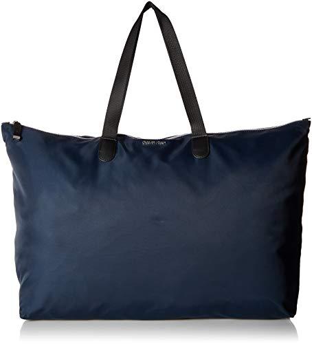 Calvin Klein Tatiana Nylon Packable Top Zip Large Tote, navy