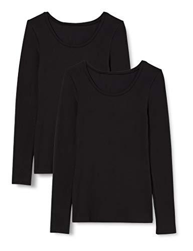 Iris & Lilly Camiseta Térmica Extra Cálida de Manga Larga Mujer, Pack de 2, Negro (Black), XS, Label: XS