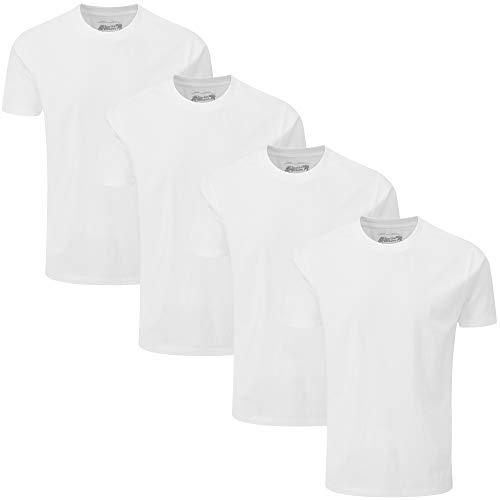 Charles Wilson Paquete 4 Camisetas Cuello Redondo Lisas (Large, Blanco)