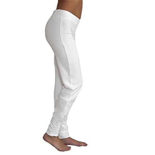 Leela Cotton Damen Freizeit, Yoga Hose Bio-Baumwolle (S, Naturweiß)