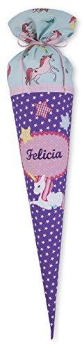 Stoffschultüte mit Wunschnamen, Schultüte aus Stoff Einhorn, Lila