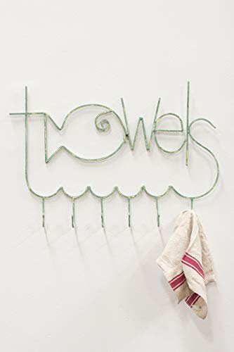 Fishy Towel Rack - Antique Turquoise Metal, 30.5 x 20.5 in by Kalalou