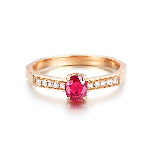 Daesar Anillo Compromiso Mujer,Anillos Boda Oro Rosa 18K Oval Rubí Rojo 0.514ct Diamante Blanco 0.083ct Talla 13,5