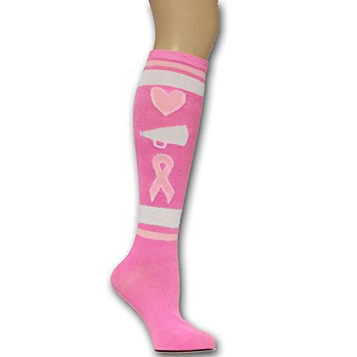 Pink Ribbon Breast Cancer Awareness Love Cheer Cure Cheerleading Knee High Socks