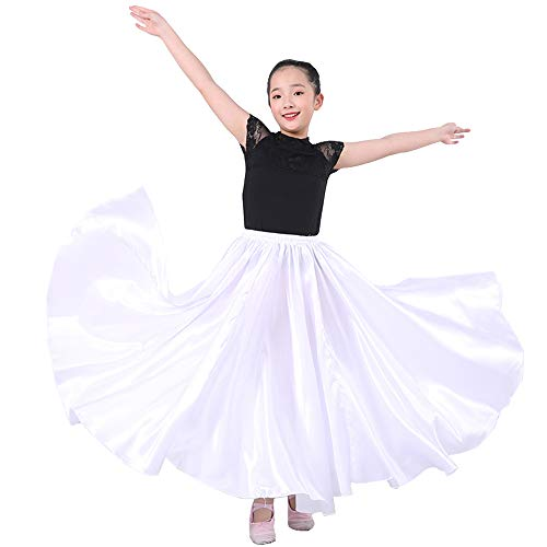 Long Full Satin Solid Maxi Swing Dance Costume Cosplay Skirt for School Children Girls 8-12 Years (White)