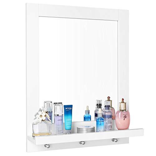 Homfa Specchio da Bagno Specchio Arredobagno con Cornice 3 Ganci Bianco 47 × 60 × 13,5 cm