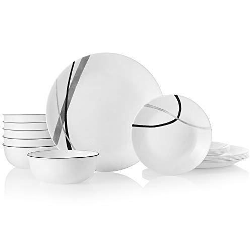 Corelle Chip Resistant Dinnerware Set, 18-Piece, City Ribbon